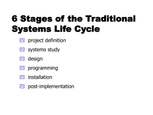 6 Stages of the Traditional Systems Life Cycle  project definition