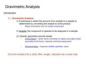 Gravimetric Analysis Introduction