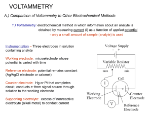 VOLTAMMETRY A.) Comparison of Voltammetry to Other Electrochemical Methods
