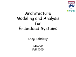 Architecture Modeling and Analysis for Embedded Systems