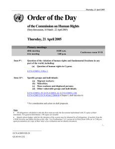 Order of the Day of the Commission on Human Rights