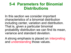 5-4  Parameters for Binomial Distributions