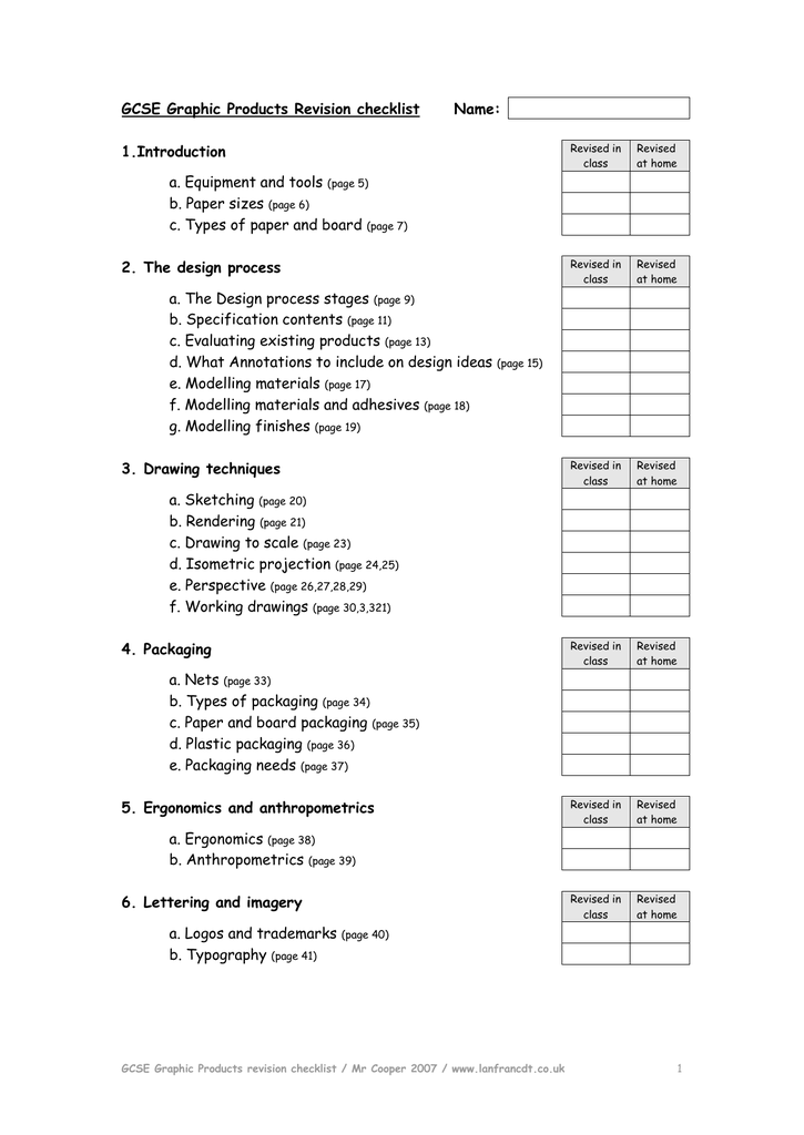 GCSE Graphic Products Revision checklist Name: 1 Introduction