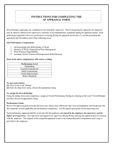 INSTRUCTIONS FOR COMPLETING THE SP APPRAISAL FORM