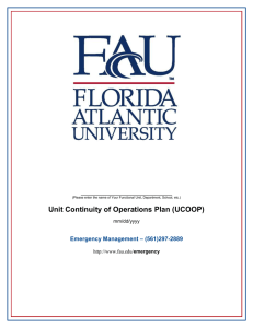 Unit Continuity of Operations Plan (UCOOP) – (561)297-2889 Emergency Management