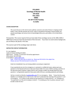 SYLLABUS Sociology of Mental Health SY0 4410 FALL 2015