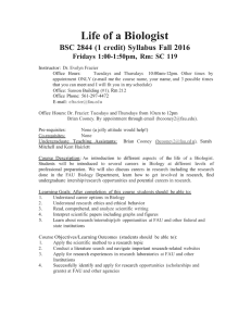 Life of a Biologist  BSC 2844 (1 credit) Syllabus Fall 2016