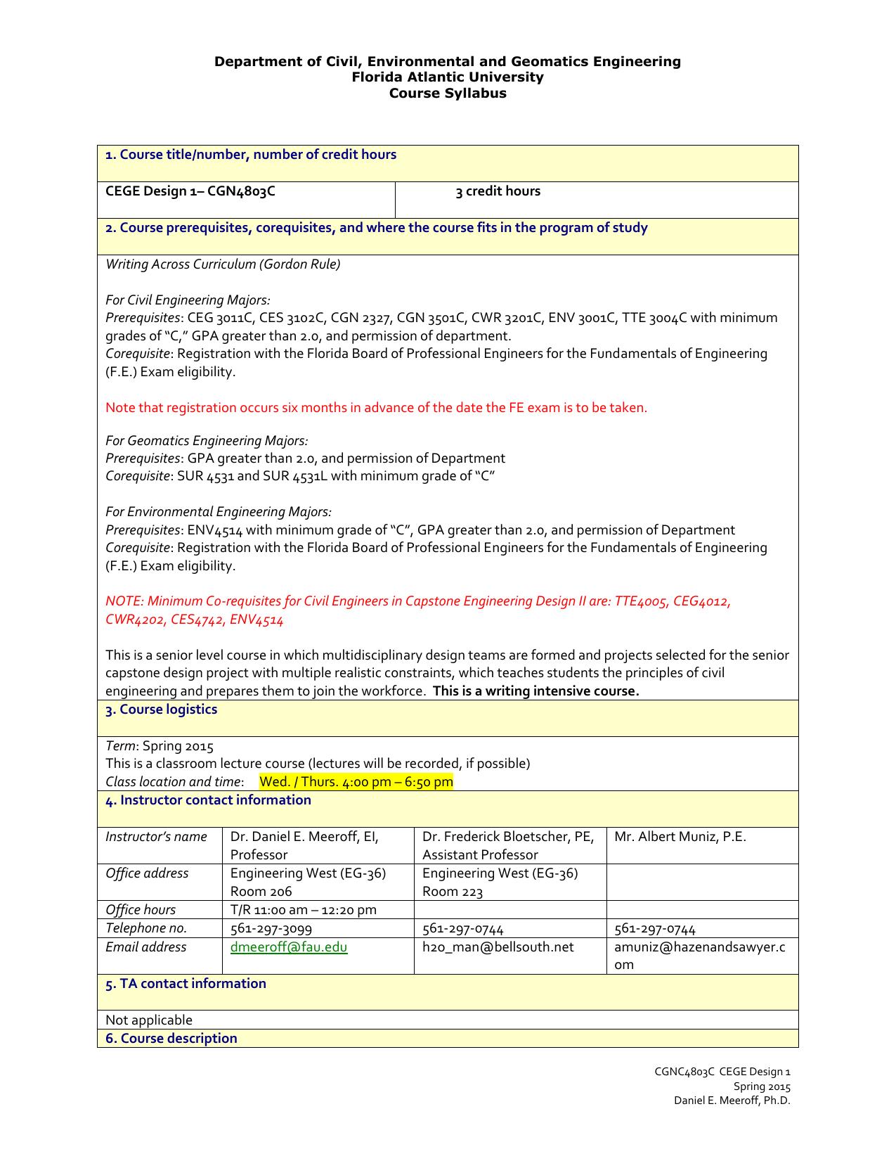 Department of Civil, Environmental and Geomatics Engineering