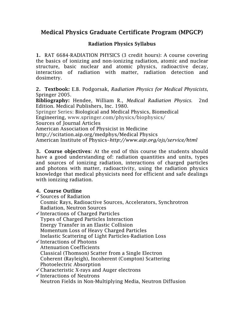 Medical Physics Graduate Certificate Program Mpgcp