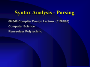 Syntax Analysis - Parsing 66.648 Compiler Design Lecture  (01/28/98) Computer Science