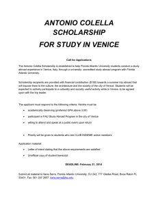 ANTONIO COLELLA SCHOLARSHIP FOR STUDY IN VENICE