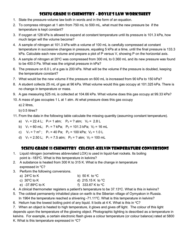 SCH3U Grade 11 Chemistry Boyles Law Worksheet – Boyles and Charles Law Worksheet