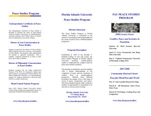 Peace Studies Program FAU PEACE STUDIES Florida Atlantic University PROGRAM