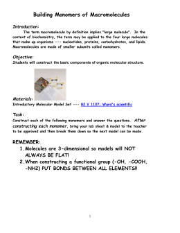 Building Monomers of Macromolecules Introduction:
