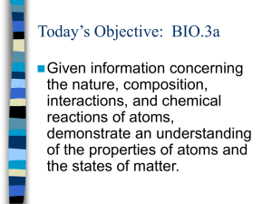 Today's Objective:  BIO.3a
