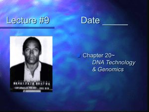 Lecture #9 Date _____ Chapter 20~ DNA Technology