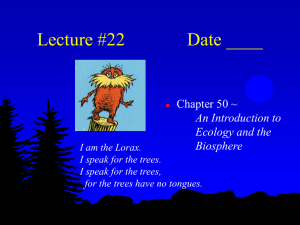 Lecture #22 Date ____ Chapter 50 ~ An Introduction to