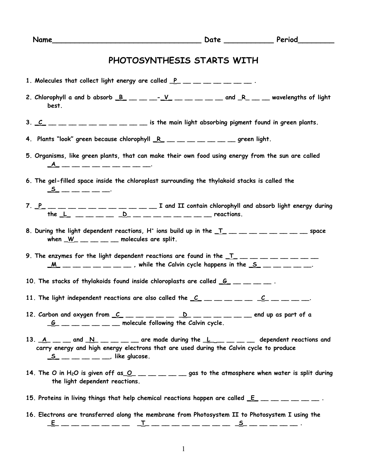 PHOTOSYNTHESIS STARTS WITH Name – Photosynthesis Review Worksheet Answers