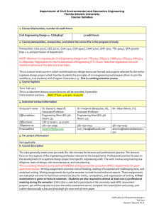 Department of Civil Environmental and Geomatics Engineering Florida Atlantic University Course Syllabus