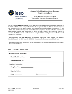 Ontario Reliability Compliance Program Requirements Form