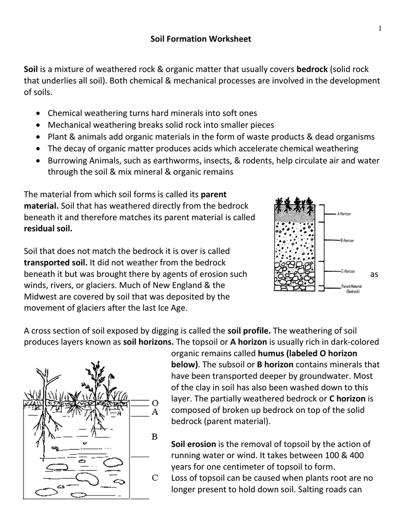 Collection of weathering and soil formation worksheet for Soil formation