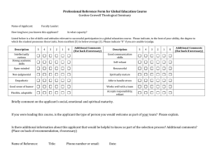 Professional Reference Form for Global Education Course Gordon-Conwell Theological Seminary