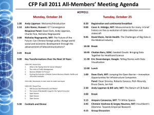 CFP Fall 2011 All-Members' Meeting Agenda Monday, October 24 Tuesday, October 25 #CFPO11