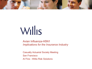 Avian Influenza-H5N1 Implications for the Insurance Industry Casualty Actuarial Society Meeting San Francisco