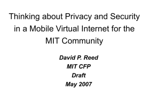 Thinking about Privacy and Security MIT Community David P. Reed