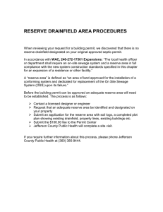 RESERVE DRAINFIELD AREA PROCEDURES