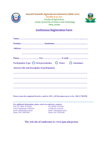 Conference Registration Form  Seventh Scientific Agricultural Conference (SSAC-2012)