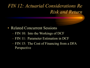 FIN 12: Actuarial Considerations Re Risk and Return • Related Concurrent Sessions