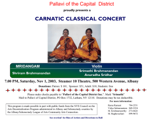 CARNATIC CLASSICAL CONCERT Pallavi of the Capital  District MRIDANGAM