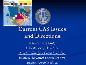 Current CAS Issues and Directions Robert F Wolf (Bob) CAS Board of Directors