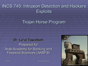 INCS 745: Intrusion Detection and Hackers Exploits Trojan Horse Program 'ai Tawalbeh