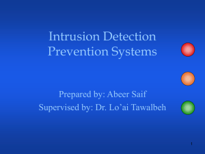 Intrusion Detection Prevention Systems Prepared by: Abeer Saif Supervised by: Dr. Lo'ai Tawalbeh