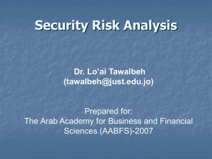 Security Risk Analysis Dr. Lo'ai Tawalbeh () Prepared for: