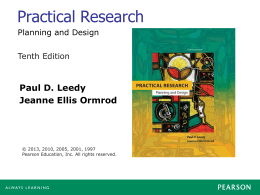 Practical Research Paul D. Leedy Jeanne Ellis Ormrod Tenth Edition