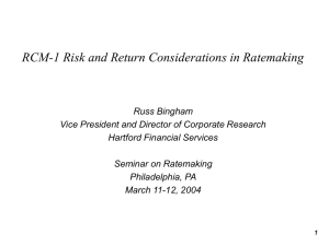 RCM-1 Risk and Return Considerations in Ratemaking