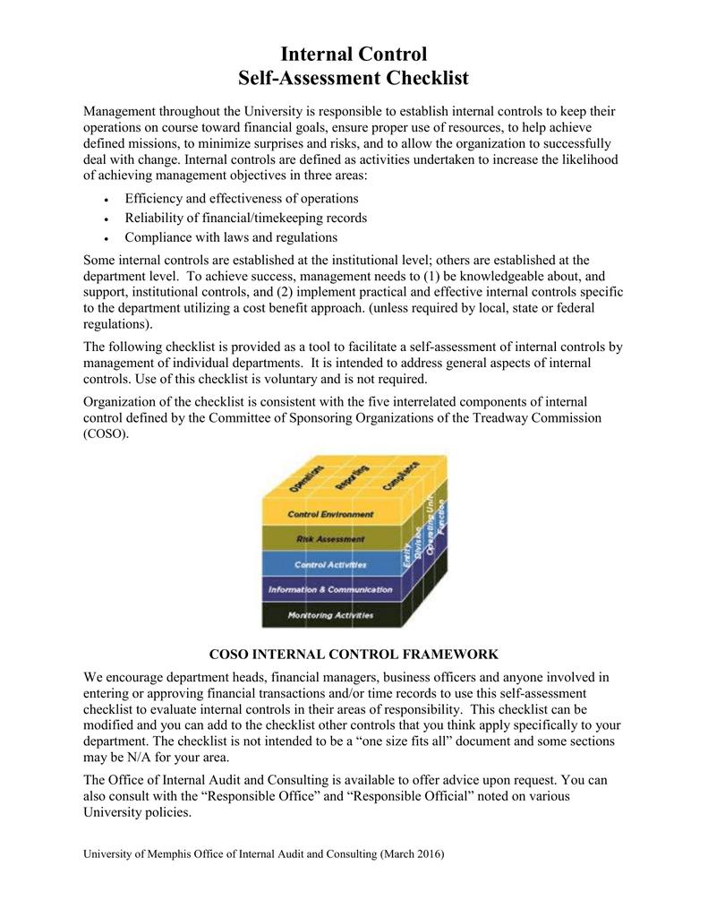 Internal Control Self-Assessment Checklist