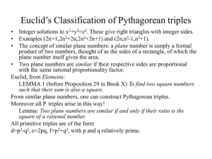 Euclid's Classification of Pythagorean triples