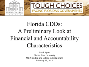 Florida CDDs: A Preliminary Look at Financial and Accountability Characteristics