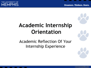 Academic Internship Orientation Academic Reflection Of Your Internship Experience