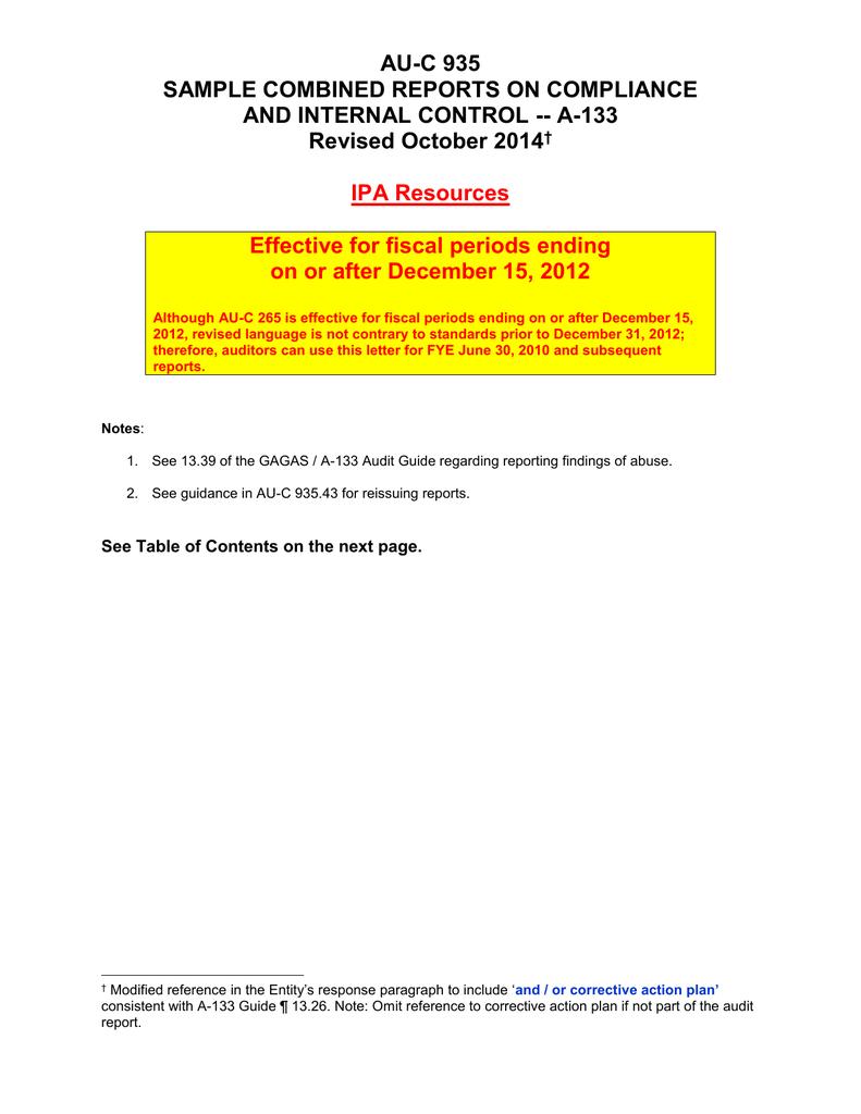 Report example audit reissued IAS 10