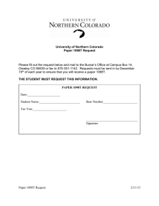 Please fill out the request below and mail to the... Greeley CO 80639 or fax to 970-351-1142.  Requests must...  University of Northern Colorado