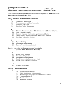 Syllabus for LL.M. Corporate Law