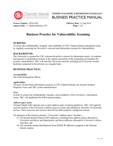 Business Practice for Vulnerability Scanning PURPOSE: