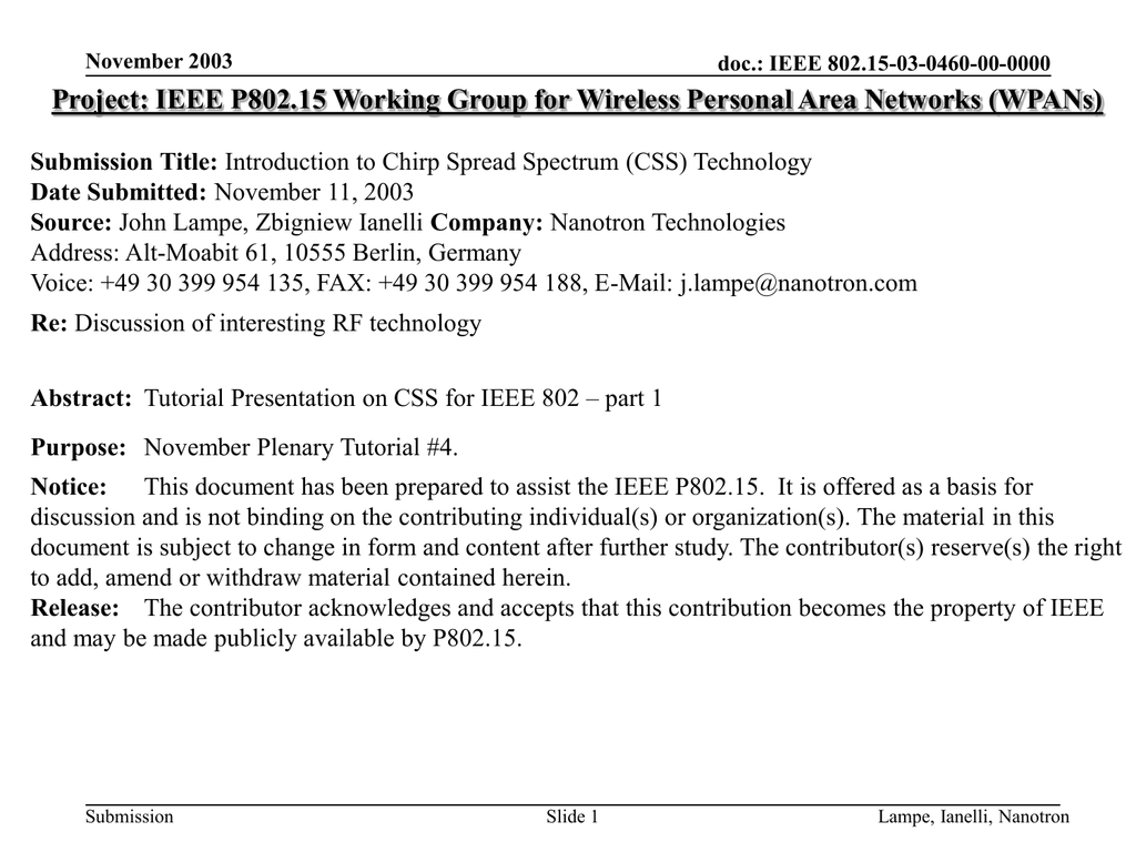 Project: IEEE P802 15 Working Group for Wireless Personal Area
