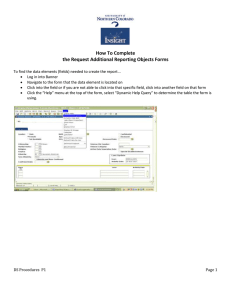 How To Complete the Request Additional Reporting Objects Forms