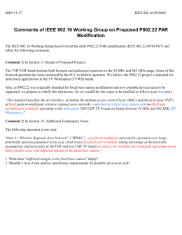 Comments of IEEE 802.16 Working Group on Proposed P802.22 PAR Modification